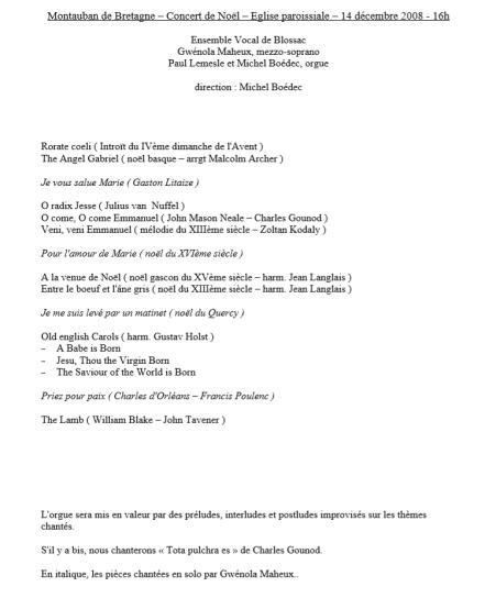 concert Noël 2008 programme